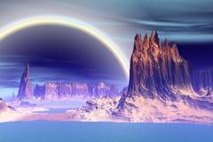 3d teruggegeven fantasie vreemde planeet Rotsen en meer Royalty-vrije Stock Fotografie