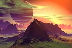 3d teruggegeven fantasie vreemde planeet Rotsen en zonsondergang Royalty-vrije Stock Foto