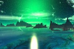 3d teruggegeven fantasie vreemde planeet Zonsondergang van een zon Royalty-vrije Stock Afbeeldingen