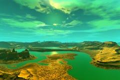 3d teruggegeven fantasie vreemde planeet Zonsondergang van een zon Stock Afbeelding