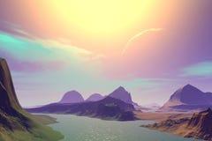 3d teruggegeven fantasie vreemde planeet Zonsondergang van een zon Royalty-vrije Stock Foto