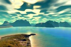 3d teruggegeven fantasie vreemde planeet Zonsondergang van een zon Royalty-vrije Stock Fotografie