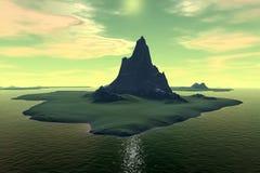 3d teruggegeven fantasie vreemde planeet Zonsondergang van een zon Stock Afbeeldingen