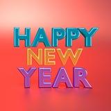 3d teruggegeven gelukkige Nieuwe jaartekst Royalty-vrije Stock Afbeeldingen