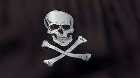 3D teruggegeven golvende Jolly Roger-piraatvlag Stock Afbeelding