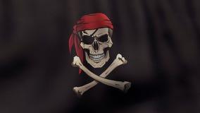 3D teruggegeven golvende Jolly Roger-piraatvlag binnen Stock Fotografie