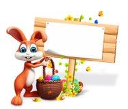 Bruin konijntje met grote tekeneieren en eieren vector illustratie