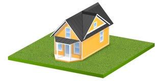 3D teruggegeven illustratie van een uiterst klein huis op een vierkant grasrijk perceel van land of werf Geïsoleerd over wit Stock Foto's