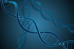 3D teruggegeven illustratie van gloeiende DNA-molecule Genetica en de microbiologie Stock Foto's