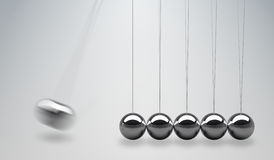 3D teruggegeven illustratie van Newtons-wieg - in evenwicht brengende ballen Stock Afbeelding