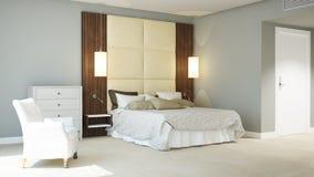 3d teruggegeven klassieke hotelslaapkamer Stock Foto