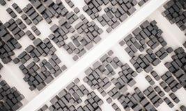 3d teruggegeven, luchtmening van stad met weg Stock Afbeelding