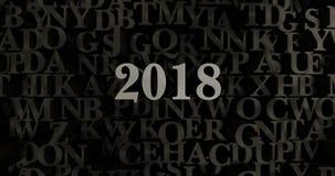 2018 - 3D teruggegeven metaal gezette krantekopillustratie Royalty-vrije Stock Afbeeldingen