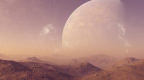 3d teruggegeven Ruimtekunst: Vreemde Planeet - een Fantasielandschap vector illustratie