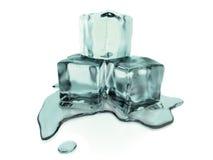 3d teruggegeven smeltende ijsblokjes met het knippen van weg stock illustratie