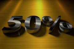 3D teruggevend aantal 50% met een metaaltextuur royalty-vrije stock afbeeldingen