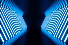 3D teruggevend Abstract blauw ruimtebinnenland met blauwe T.L.-buizen Futuristische architectuurachtergrond Model voor uw Royalty-vrije Stock Afbeeldingen