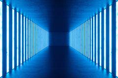 3D teruggevend Abstract blauw ruimtebinnenland met blauwe T.L.-buizen Futuristische architectuurachtergrond Model voor uw Royalty-vrije Stock Afbeelding