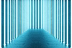 3D teruggevend Abstract blauw ruimtebinnenland met blauwe T.L.-buizen Futuristische architectuurachtergrond Model voor uw royalty-vrije illustratie
