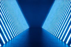 3D teruggevend Abstract blauw ruimtebinnenland met blauwe T.L.-buizen Futuristische architectuurachtergrond Model voor uw Stock Foto
