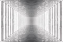 3D teruggevend abstract ruimtebinnenland met neonlichten Futuristische architectuurachtergrond Model voor uw ontwerp Royalty-vrije Stock Afbeeldingen