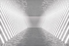 3D teruggevend abstract ruimtebinnenland met neonlichten Futuristische architectuurachtergrond Model voor uw ontwerp Stock Foto