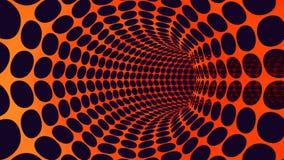 3d teruggevend abstract sinaasappel geperforeerd de cirkelgat van de metaalpijp Stock Afbeeldingen