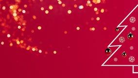 3d teruggevend beeld van minimalistische Kerstboom op rode achtergrond stock illustratie