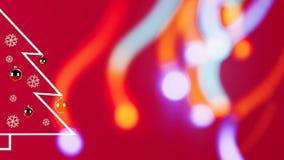 3d teruggevend beeld van minimalistische Kerstboom op rode achtergrond royalty-vrije illustratie