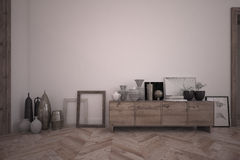 3d teruggevend binnenland van ruimte met houten buffet en het leveren toebehoren Stock Foto's