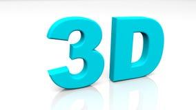 3D teruggevend blauw die 3D woord op witte achtergrond wordt geïsoleerd Stock Afbeelding
