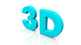 3D teruggevend blauw die 3D woord op witte achtergrond wordt geïsoleerd Stock Foto