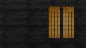 3d teruggevend de muur met venster en het licht van het venster Stock Fotografie
