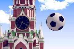 3d teruggevend de voetbalbal dichtbij Moskou het Kremlin Royalty-vrije Stock Afbeeldingen