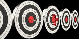 3D teruggevend doel zwart wit en rood doel met pijlen Stock Foto