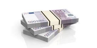 3d teruggevend 500 euro bankbiljettenstapels stock illustratie