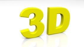 3D teruggevend geel die 3D woord op witte achtergrond wordt geïsoleerd Stock Foto