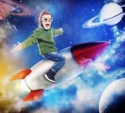 3D Teruggevend het dromen van het vliegen in ruimte Stock Fotografie