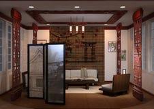 3D Teruggevend Huis Binnenlandse Japanse Stijl Royalty-vrije Stock Fotografie