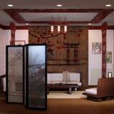 3D Teruggevend Japans Huisbinnenland Stock Afbeeldingen