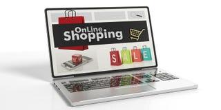 3d teruggevend online het winkelen op het laptop ` s scherm Stock Afbeeldingen