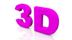 3D teruggevend purper die 3D woord op witte achtergrond wordt geïsoleerd Stock Foto