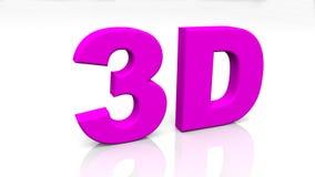 3D teruggevend purper die 3D woord op witte achtergrond wordt geïsoleerd Royalty-vrije Stock Afbeeldingen