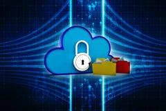 3d teruggevend Wolk gegevensverwerkingsconcept, wolkennetwerk Royalty-vrije Stock Afbeeldingen