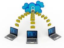 3d teruggevend Wolk gegevensverwerkingsconcept, wolkennetwerk Royalty-vrije Stock Afbeelding