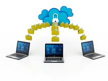 3d teruggevend Wolk gegevensverwerkingsconcept, wolkennetwerk Stock Afbeeldingen
