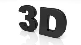3D teruggevend zwart die 3D woord op witte achtergrond wordt geïsoleerd Stock Afbeeldingen