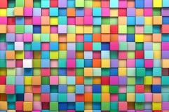 3D teruggevende abstracte achtergrond van multi-colored kubussen Stock Afbeelding