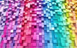 3D teruggevende abstracte achtergrond van multi-colored kubussenmuur Vector Illustratie