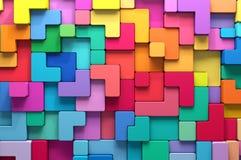 3D teruggevende abstracte achtergrond van multi-colored rond gemaakte vormen Stock Foto's